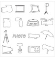 photographic and camera simple outline icons eps10 vector image vector image