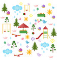 playground kindergarten pattern set flat vector image vector image