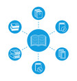reading concept - book line icons vector image vector image