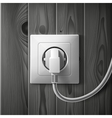 Realistic electric white socket and plug on dark vector image