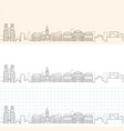 rennes hand drawn profile skyline vector image vector image