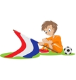 Sad Holland soccer fan cartoon vector image