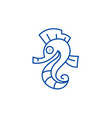 sea horse line icon concept sea horse flat vector image vector image