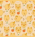 seamless pattern with cartoon yellow pigs apples vector image vector image