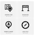 set of 4 editable map icons includes symbols such vector image vector image