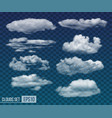 set of realistic transparent night clouds vector image vector image