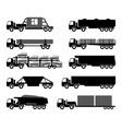 set silhouettes cargo trucks vector image vector image