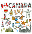 sketch hand drawn collection of canada symbols vector image