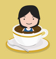 small girl in black coffee cup vector image