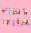 smiling older people isolated on pink vector image vector image