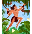 Tarzan swinging on vines vector image