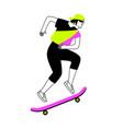 teenage girl on skateboard vector image