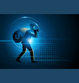 thief carrying big sack full of cash money vector image