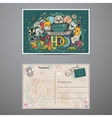 Two-sided card on a school theme with doodles vector image vector image