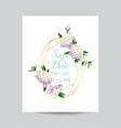 wedding invitation floral template white peonies vector image vector image