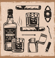 whiskey and cigars monochrome design elements vector image