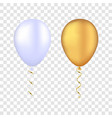 white and gold balloons on a transparent vector image vector image
