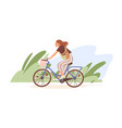 young modern woman riding bicycle with basket vector image