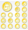 abstract yellow round paper icon set vector image vector image