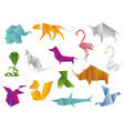 animals origami set japanese folded modern vector image vector image