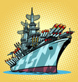 battleship warship missile cruiser vector image vector image