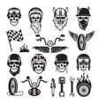 biker symbols skull bike flags wheel fire bones vector image vector image