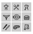 black barbecue icons set vector image vector image