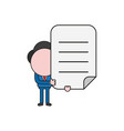 businessman character holding written paper color vector image