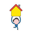 businessman character running and carrying house vector image vector image