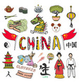 china hand drawn doodle icons collection set with vector image