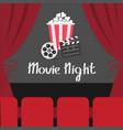 clapper board movie reel popcorn open luxury red vector image