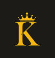 classic k letter with crown vector image vector image