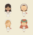 color background of set four woman in wedding vector image vector image