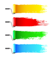 Colorful paint rollers and grunge stripes vector image vector image