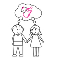couples with the desire to have a child vector image vector image