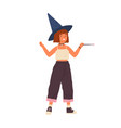 cute girl wearing witch hat and holding magic wand vector image vector image
