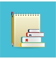 eduation online concept notepad books school vector image vector image