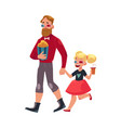 father and daughter going to cinema isolated vector image vector image