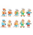 fitness granny grandfather adult healthy vector image vector image