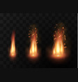 flame of fire with sparks on a black background vector image vector image
