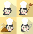 Flat Design Chef Icon With Long Shadow Effect vector image vector image