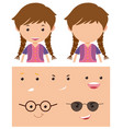 girl with different faces vector image