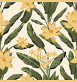 green leaves flowers seamless yellow background vector image vector image