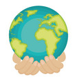 hands human with world planet earth icon vector image vector image