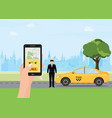 hands with smart phone and taxi application vector image vector image