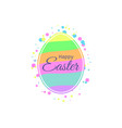 happy easter easter egg with multi-colored vector image vector image