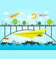 landscape with paper plains bridge and ocean vector image vector image