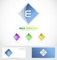 Letter e rhombus logo blue vector image