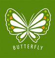 logo delicate butterfly on a green background vector image vector image