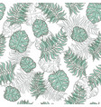 monstera palm tropical jungle leaf seamless vector image vector image